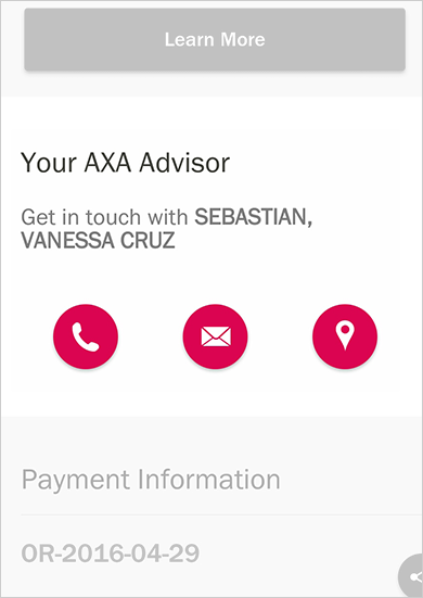 MyAXA App Contact Financial Advisor