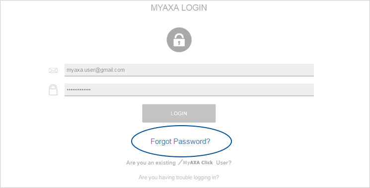 MyAXA Portal Reset Password