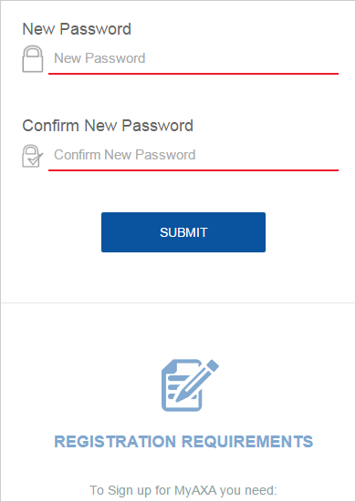 MyAXA App Reset Password